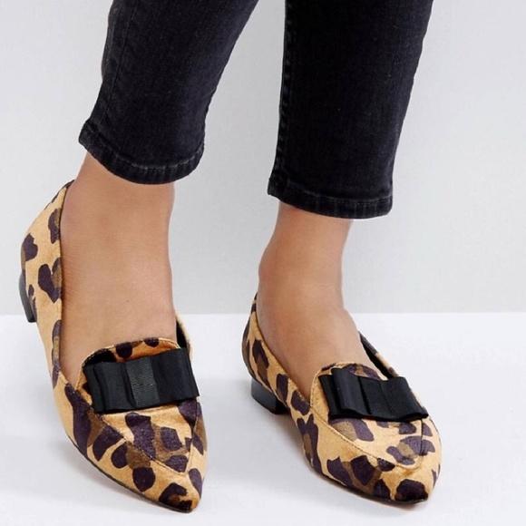 Asos Leopard Printed Velvet Flats